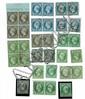 France - Napoléon  nd - N° 10, 25 c. bleu, 2 ex. et 3 paires, oblitérés - n° 11, 1 c. olive, une paire neuve et 2 ex. oblitérés - n°...