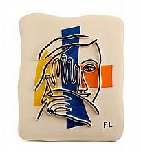 Fernand LEGER (d'après) 1881 - 1955 VISAGE AUX DEUX MAINS Céramique à décor polychrome émaillé