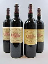 4 bouteilles 2 bts : PAVILLON ROUGE DU CH MARGAUX 1998 Margaux (légères traces sur étiquettes)