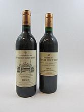 5 bouteilles 3 bts : CHÂTEAU LA TOUR HAUT BRION 1989 CC Pessac Léognan (étiquettes fanées)