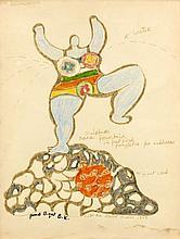 Niki de SAINT PHALLE (1930 - 2002) NANA FOUNTAIN - 1967 Feutre et crayons de couleur sur papier