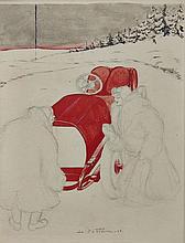 Louis de FLEURAC (Louis Victor Marie Bonniot de Fleurac 1876-1965)  Elégante à l'Hotchkiss dans la neige