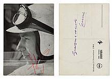 CARTE POSTALE FERRARI, 1964  Dédicacée par John Surtees au recto et par Enzo Ferrari au verso