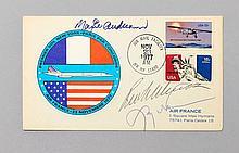 Aéronautes américains, 1978 - 1ère Traversée de l'Atlantique en Ballon. Enveloppe affranchie de timbres-poste américains oblitérés d..