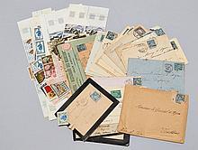 France - Ensemble de timbres-poste modernes avec quelques affranchissements anciens sur lettres et des vignettes publicitaires.