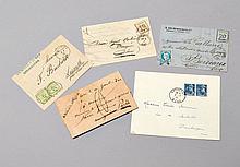 France - Timbres et oblitérations de guerre. Petit ensemble de lettres affr. de timbres-poste français et d'Alsace-Lorraine (1871) a..