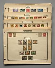 France et pays divers - Ensemble de timbres-poste principalement oblitérés de divers pays présentés sur des feuilles d'album.
