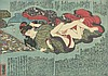 Vintage Antique Hiroshige Ca. 1850 colored print Shunga