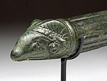 Roman Bronze Patera Handle, Ram Finial