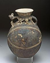 Adorable Chancay Pottery Jar - Nursing Jaguar