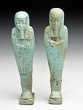 Pair of Egyptian Blue Faience Ushabtis