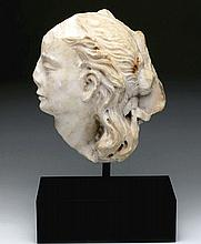 Roman Marble Bust From Sarcophagus, Found Near Pergamon