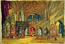 Interior of cathedral by David Roberts