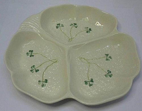 A Belleek hors d'oeuvres dish, green backstamp