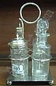 A four bottle plated cruet