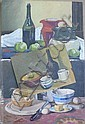 Three unframed oils on board, still lifes, signed