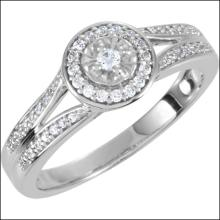 Halo-styled Cubic Zirconia Engagement Ring Or Matching Band