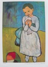 After Pablo Picasso Child With Dove Estate Signed Small Giclee