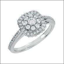 Halo-styled Cluster Engagement Ring With Cushion Frame