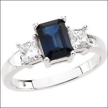 Genuine Blue Sapphire & Diamond Ring