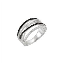 Genuine Black Spinel & Diamond Ring