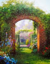 Garden Arches Signed Original Oil Painting On Canvas