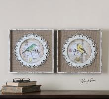 Bird Stamps Framed Art S/2