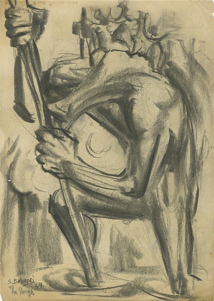 SANTOS BALMORI - Charcoal drawing