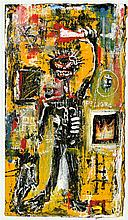 JEAN-MICHEL BASQUIAT - Oil on corrugated cardboard