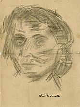 OSKAR KOKOSCHKA - Original charcoal drawing