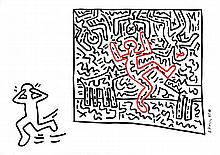 KEITH HARING - Color marker drawing on paper