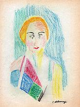 ROBERT DELAUNAY - Crayon and colored pencil drawing
