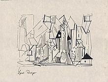 LYONEL FEININGER - Pen & ink drawing on paper