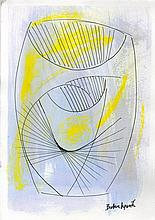 BARBARA HEPWORTH - Watercolor, ink, and colored pencil drawing on paper