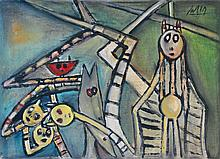 WIFREDO LAM - Oil on canvas