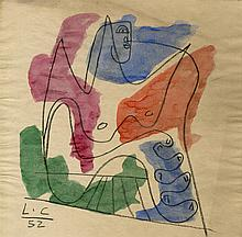 LE CORBUSIER - Watercolor and pencil drawing