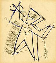 FORTUNATO DEPERO - Color pencil and pencil drawing on paper