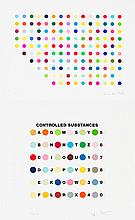 DAMIEN HIRST - Color silkscreens with glaze (and deboss to Controlled Substances Key Spot print)