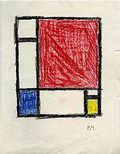 PIET MONDRIAN [by or attrib] - Original crayon drawing