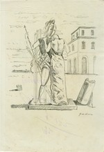GIORGIO DE CHIRICO - Pencil drawing on paper