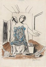 GIORGIO DE CHIRICO - Mixed media drawing
