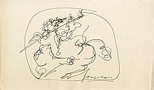 LUCIO FONTANA - Original pen and ink drawing
