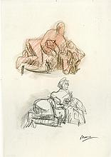 HENRY MOORE - Crayon, colored pencil, and pencil drawing on paper