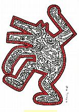 KEITH HARING [after] - Color drawing (red and black markers) on paper