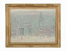 Johann Berthelsen, Oil on canvas, 'Washington Square Park'