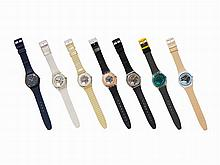Collection of Seven Swatch Wristwatches, c.1985