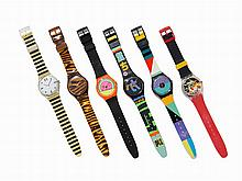 Collection of Six Swatch Wristwatches, c.1985