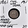 1861 U.S. Seated Liberty Half Dime AU