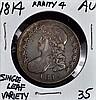 1814 U.S. Bust Half AU Single Leaf Variety