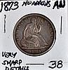 1873 U.S. Seated Liberty Half AU No Arrows Type